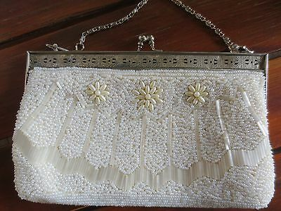 Beautiful pearly beaded vintage evening bag with silver-toned filigree frame