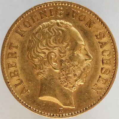 1894 Gold 20 Mark Germany-Saxony, Rare, Almost Unc
