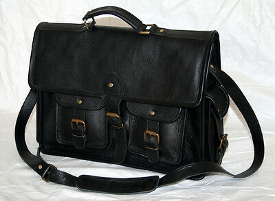 "Men's Retro Leather Messenger Shoulder Bag Satchel 15"" Laptop Briefcase Attache"
