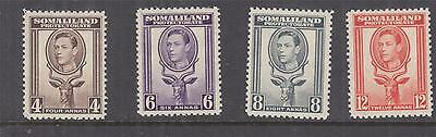 SOMALILAND PROTECTORATE, 1938 KGVI 4a., 6a., 8a. & 12a., lhm.
