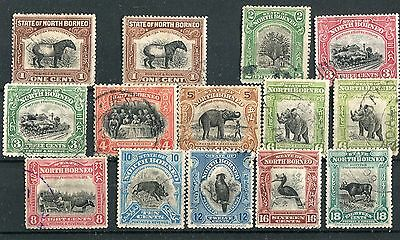 North Borneo 1909-23 values to 18c SG158//75 mostly postally used
