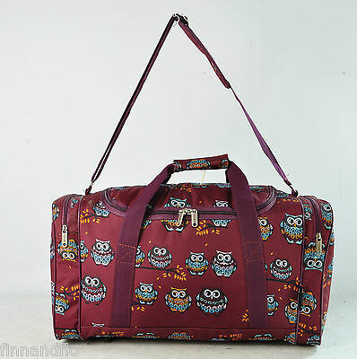 Burgundy owl travel/weekend/overnight/gym/hospital bag/holdall/duffle/bag