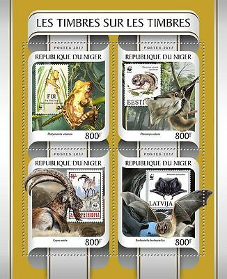 NIGER 2017 ** Frogs Frösche Stamps on Stamps M/S #217aB