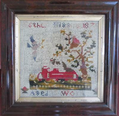Antique Tapestry Wool Work Picture Esther Higgins 187? Victorian