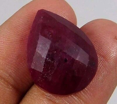 18 Cts.NATURAL FACETED DYED RUBY CUT LOOSE CAB GEMSTONE (AQ951)