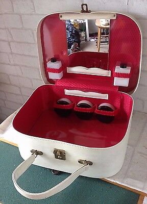 Vintage 1960's Cream and Red Small Vanity Case Suitcase with Pots & Mirror