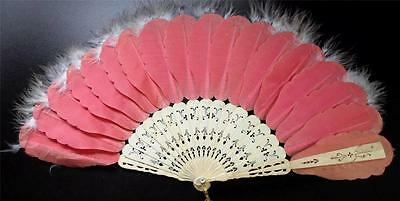 Antique Ladies Hand Fan  Pink Silk Victorian Brisee