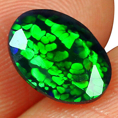 1.05CT Ethiopian Play Of Color Black Opal Faceted Cut  Natural UQOP1351