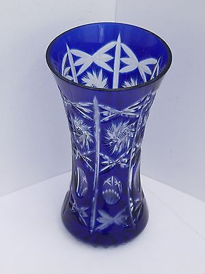 Beautiful Royal Blue Cut Glass Vase