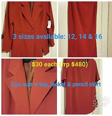 3 pc size 14 Vintage Red Suit womens Veria/Innovate rrp $480 Australian made