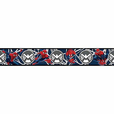 Spiderman Blue Self Adhesive Wallpaper Border 5M Kids Bedroom New Free P+P