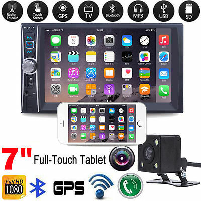 "Double 2Din 7"" Car GPS Stereo MP3 MP5 Player Bluetooth FM Radio USB + Camera"