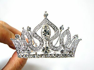 Small Silver Crystal Rhinestone Crown Tiara Hair Jewelry Comb Clip Pin Accessory