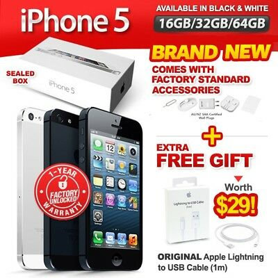 New & Sealed Factory Unlocked APPLE iPhone 5 16 32 64GB Black White 1 Yr Wrty