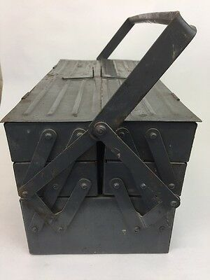 Vintage Metal Tool Box Made in Poland Twin Handled Storage Chest Toolbox