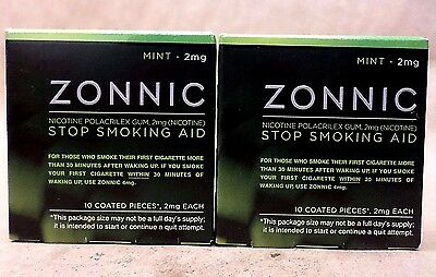 Zonnic Gum Stop Smoking Aid 2 mg MINT Flavor 10 Coated Pieces Exp 03/18 LOT OF 2