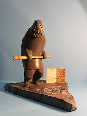"""Vintage Inuit Stone Carving """"Hunter with Club at Blow Hole"""" by Samwillie Iqaluq"""