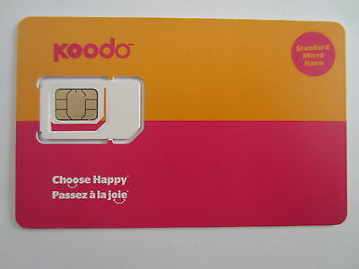 New POSTPAID ONLY Koodo Regular Micro Nano Multi Size Sim Card 3G 4G LTE