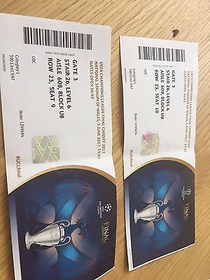 x2 Champions League Final Tickets - USED -3rd June 2017 - Juventus V Real Madrid