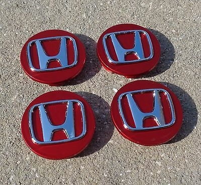 4X Set NEW Red Wheel Center hub Caps Honda ACCORD CRV PILOT CIVIC Odyssey 69mm