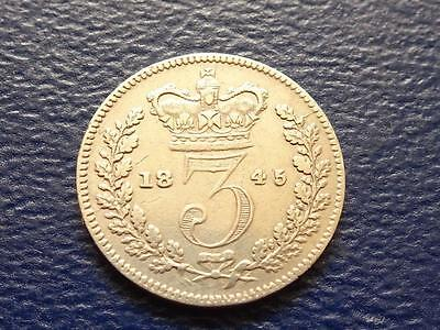 Queen Victoria Silver Threepence 1845 Great Britain Uk