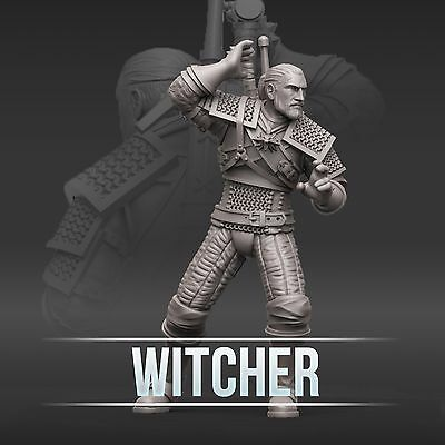 "28mm wargame and collectible miniature, Geralt of Rivia,The Witcher by ""W"" Artel"