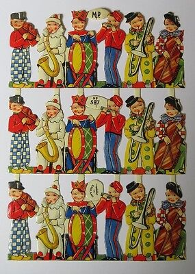 Paper Scraps Mamelok MP 857 Musicians Small Sheet in Great Condition Glanzbilder