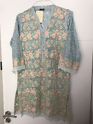 New With Tags Agha Noor Embroidered Chiffon Kurta Small Pearl Buttons With Slip