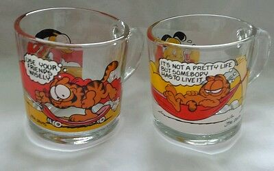 LOT OF 2 Garfield Glass Coffee Mugs JIM DAVIS McDonalds COLLECTIBLE 1978