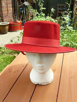 Vintage Genuine Real  Red Matador Spanish Hat 100% Original Size 58 VIUMAR