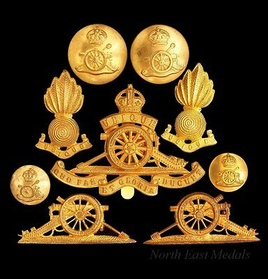 Royal Artillery Cap and Collar Badges etc; Set of 9 Items