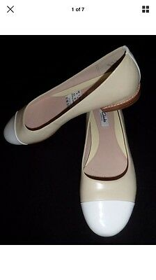 "CLARKS ""Festival Gold"" Pale Yellow White Leather Low Heel Shoes UK 6.5 BRAND NEW"