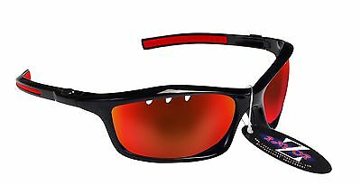 RayZor Uv400 Black Vented Red Mirrored Lens Cricket Wrap Sunglasses RRP£49