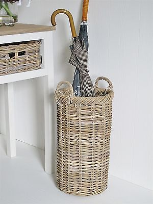 Grey Wash Rattan Wicker Umbrella Stand