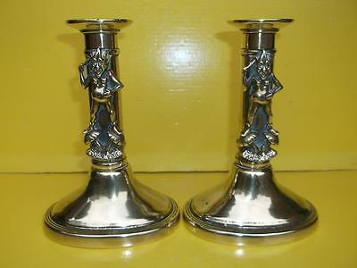 386 / Lovely Pair Of Late 19Th Century Brass Exmoor Pixie Candlesticks