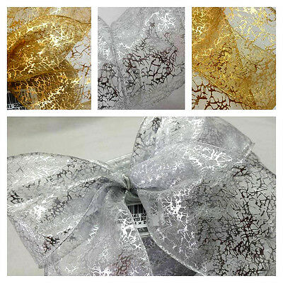 70,50,32mm 3 WIDTHS -1m SHEER PRETTY WIRED IN SHINY GOLD OR SILVER,TREE,CAKE,BOW