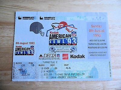 1993 Kodak NFL American Bowl at Wembley Stadium Unused Ticket *RARE*