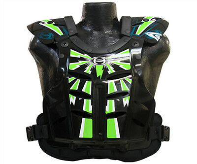HRP FLAK JAK motocross chest protector LG fits 145-190 lbs Black Kawasaki Green