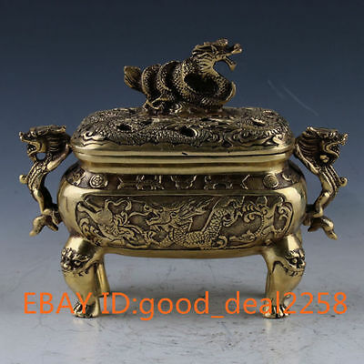 Crusted Brass Handmade carved Dragon Statue Incense Burner with Xuande Mark