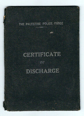Judaica The Palestine Police Force Certificate Of Dischrge 1945
