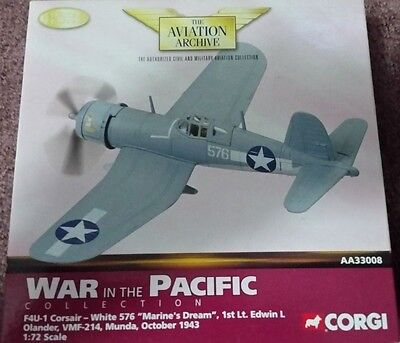 "Corgi Diecast Airplane F4U-1 Corsair White 576 ""MARINE'S DREAM"" Lt Edwin AA33008"