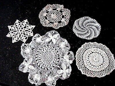"""Vintage Hand Made Lace Doilies Lot/5~White/Cream~Assorted 4 1/2"""" - 9"""""""