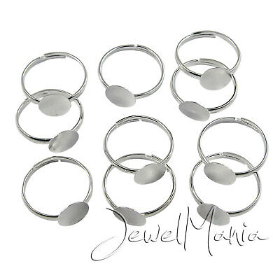 5-200 Pcs Silver Plated Adjustable Ring Blanks Base Pads Children & Adult Sizes