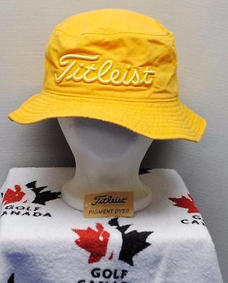 New Mens Titleist Pigment dyed Gold golf bucket cap hat Small
