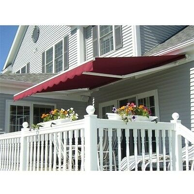 ALEKO Retractable Patio Awning 13 X 10 Ft Deck Sunshade Canopy Burgundy Color