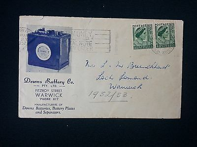 1952 AUSTRALIA ILLUSTRATED COVER FROM DOWNS BATTERY Co WARWICK CDS + SLOGAN