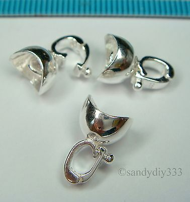 1x STERLING SILVER CHANGEABLE PENDANT CLASP SLIDER CONNECTOR THREADING CAP #1303