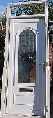 White PVC front door, with arched floral bevelled window, with frame - USED