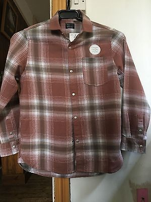 Boys 'Next' Brown/White Cotton Long Sleeved Plaid Shirt - 8 yrs
