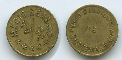 G9897 - Guatemala Medio ½ Real ND Token Ferro Carril Urbano RAR